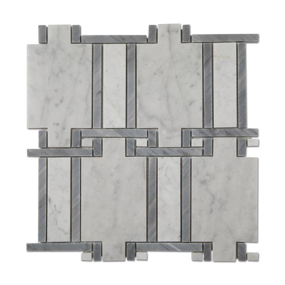 Soulscrafts Carrara White Mixed Grey Marble Natural Mosaic Stone Tile Featured Image