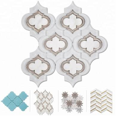 Soulscrafts Glass and Statuary White Arabesque Marble Water Jet Mosaic