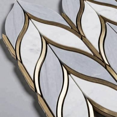 Soulscrafts Latin Grey And Carrara Marble And Brass Leaf Shape Waterjet Mosaic Tile