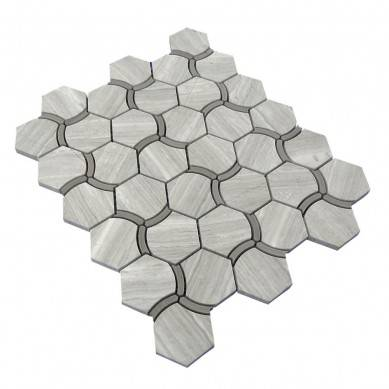 Special Hexagon Waterjet Wooden Gray Marble Mosaic