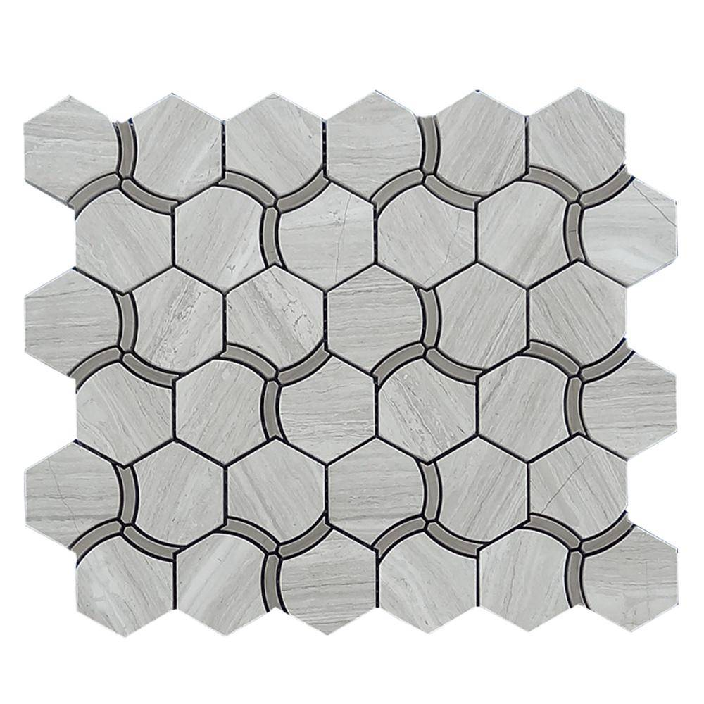 Special Hexagon Waterjet Wooden Gray Marble Mosaic Featured Image