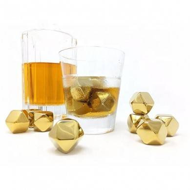 2019 Amazon Top Seller Reusable Stainless Steel Ice Cubes Whiskey Stones Set Hot Seller Stainless Steel Ice Octagonal Shape