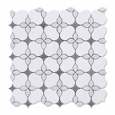 Wall or Floor White Thassos Marble Mosaic Tile Bathroom Waterjet Stone Mosaic