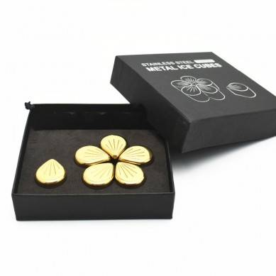 Reusable Gold Color Chilling Whiskey Stones Metal Ice Cubes