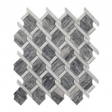 White Mixed Bardiglio Gray Marble Mosaic Tile For Wall And Floor