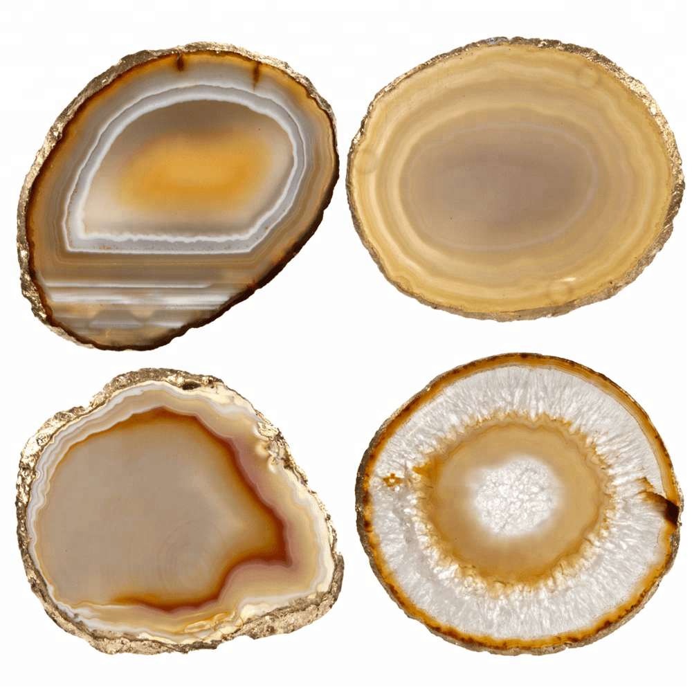 Decorative Agate Coasters Sliced from Natural Agate Geodes Set of 4 Natural Sliced Agate Coaster with Resin Pad Featured Image