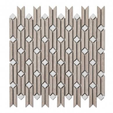 Wood Light Grain Polished Beige Marble Tiles Strip Mosaic