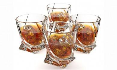 Crystal Whiskey Glass Set of 4 – Premium Lead Free Crystal Glasses – Twist Tasting Tumblers for Drinking