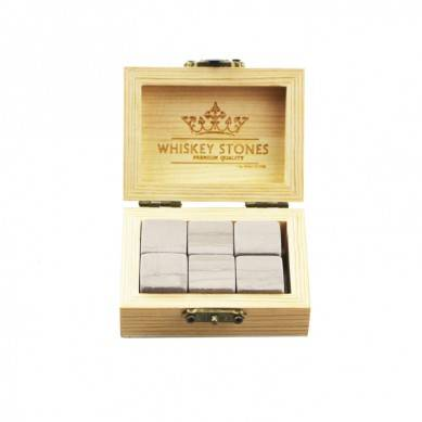 Wholesale 6 Pcs of Grey Serpegiante in popular Wooden Box gift to Chill Your Drinks Cheap Whiskey Stones Gift Set