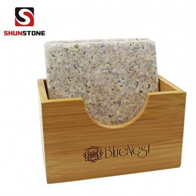 SHUNSTONE Granite stone coaster in beige color in bamboo tray then in beauity box as a gift to family