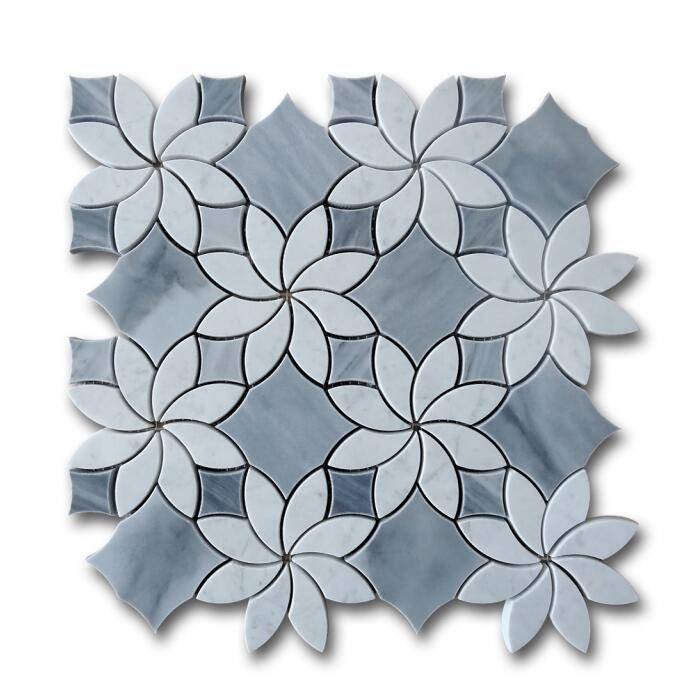 carrara white mixed italy gray waterjet mosaic designs Featured Image