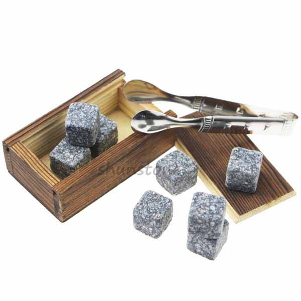 High Quality Select Engraved Customized Whisky Stones Gift Set 8 pcs of Whiskey Stone Barware Scotch Rocks Granite Cubes Chilling Stones Featured Image
