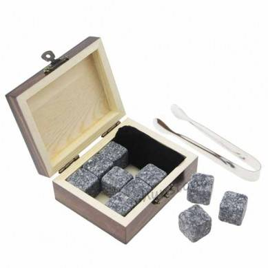 9 pcs of porphyry whiskey stonecube size in small burned outside without burning outer wooden gift boxes