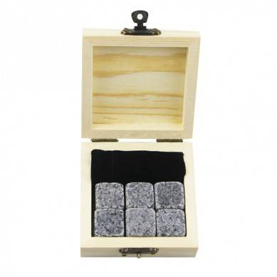 Hot selling gift kit 6 pcs of G654 Whiskey Chilling Rocks Customize Packaging Whiskey Stones Set of Natural Cubes with velvet bag