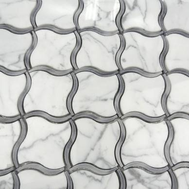new designed white stone water jet marble mosaic tile