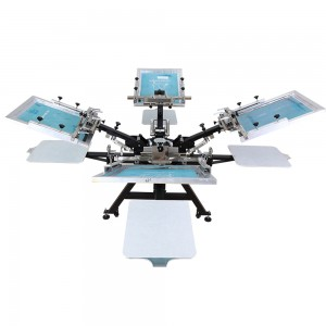 Heavy duty 4 color 4 station screen printing machine with micro-registration system
