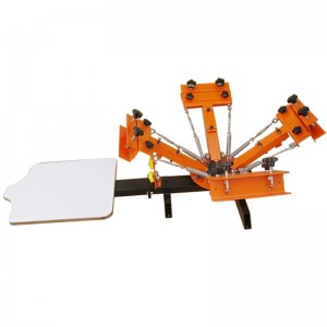 4 color 1 station screen printing machine with micro-registration system