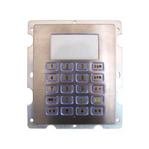 4×5 stainless steel LED illuminated metal keypad for access control system B802