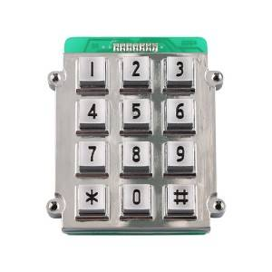 3×4 12 keys waterproof industrial access control zinc alloy digital metal keypad B518