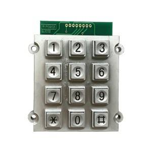 12 keys square button telecommunication equipment digital access control zinc alloy metal keypad B515