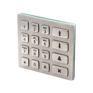 IP68 waterproof stainless steel brushed metal keypad with 16 key buttons for rugged doorphone B801
