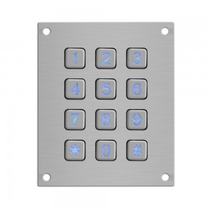 Stainless steel atm 3×4 vandalism proof metal matrix atm keypad-B884