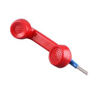 Red color retro flameproof handset with armored cord-A03