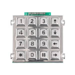 Waterproof 4×4 matrix numeric illuminated metal keypad  -B660