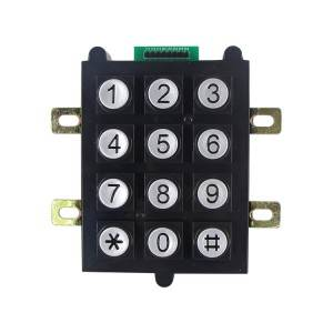12keys flame resistant plastic  round buttons keypad for industrial area  B102