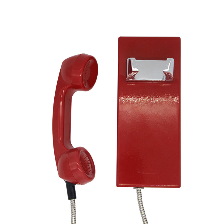 Joiwo Red Waterproof Telephone Auto Dail Rolled Steel Telephone Public Phone for Bank Telephone Booth JWAT205 Featured Image