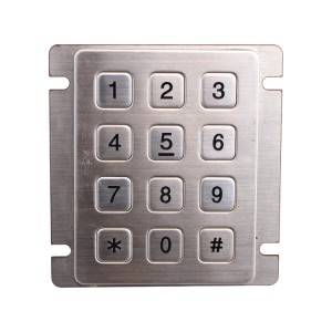 12 keys stainless steel backlight professional keypad for shopping centre kiosk-B884