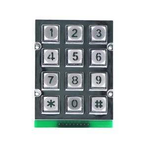 12 keys zinc alloy pierce-proof illuminated vending machine keypad-B665