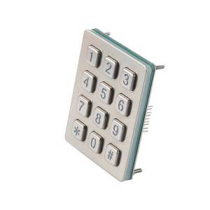 3×4 numeric payment kiosk RS232 male DB9 waterproof keypad -B880