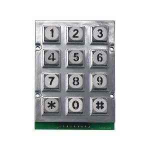 New arrivals zinc alloy 12 keys Kiosk LED illuminated matrix keypad-B665