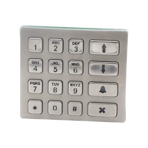 RS485 16 keys industrial weatherproof metal LED backlight keypad B801