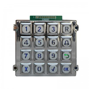 Industri LED backlit logam keypad-B660