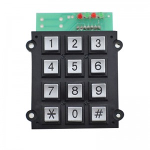 12 keys numeric zinc alloy keypad with XHplug/hot item 3×4 dustproof keypad -B501