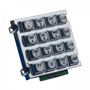 4×4 waterproof zinc alloy  industrial keypad for access control system B512