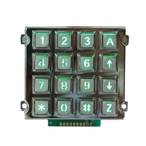 16 keys backlight zinc alloy keypad/Emergency Intercom System keypad -B660
