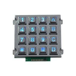ATM 16 keys numeric keypad IP65 waterproof illuminated metal keypad-B660