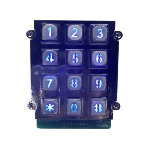 Zinc Alloy Metal Illuminated 12 Key Keypad Integrated To Big Control Panel-B661