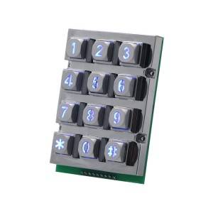 12 keys 4×3 metal backlight stainless steel illuminated numeric keypad, Waterproof Digital LED Vending Machine backlit Keyboard