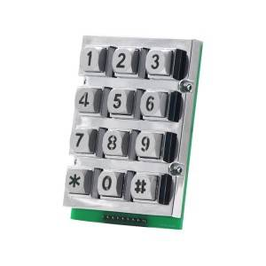 3*4 12 keys zinc alloy Backlit USB Industrial  Metal Keypad-B665