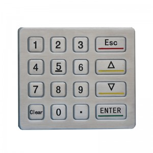ATM Programmable outdoor 16 keys RS232 numeric keypad  B713