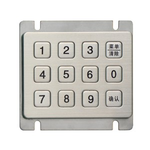 3×4 matrix metal security 12 keys waterproof keypad-B720
