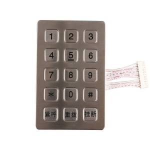 3×5 layout square button metal matrix kiosk stainless steel access control keypad B722
