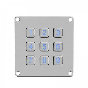 3×3 9keys waterproof matrix backlight illuminated customized layout metal keypad B861