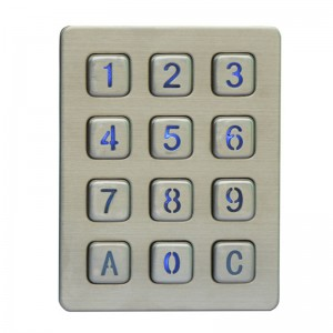 12keys matrix numeric backlight keypad/illuminated keypad for Inmate Jail Telephone-B880