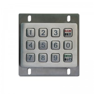 3×4 12 Keys Digital Back Lighting IP65 Industrial Anti-Vandalism Video Door Keypad-B880
