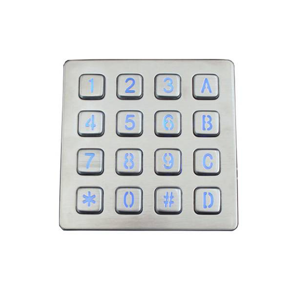 4×4 16keys vandal proof LED backlit keypad for access control systemB881 Featured Image